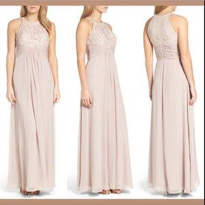 NWT Eliza J Beaded Lace & Chiffon Gown CHP SZ 10